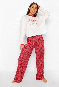 Red Mix and Match Tartan PJ Trousers