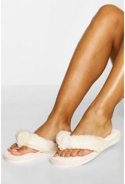Cream white Fluffy Flip Flop Slippers