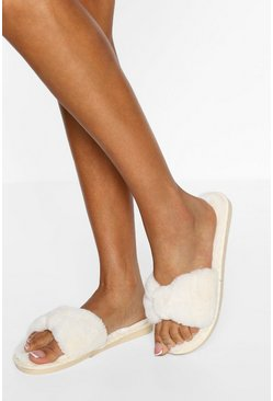 Cream white Bow Front Slippers