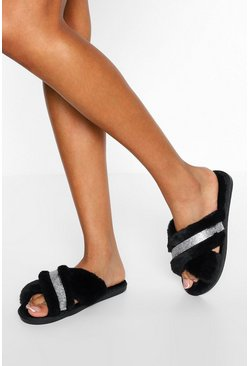 Black Diamante Cross Front Slippers