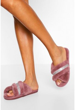 Pink Diamante Cross Front Slippers