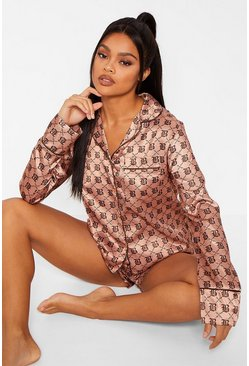 Camel Boohoo Print Satin Long Sleeve PJ Short Set