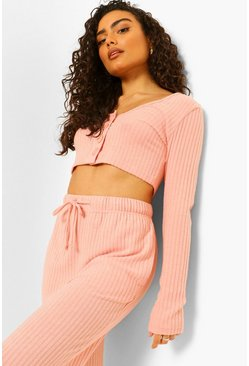 Dusty pink Ribbed Button Up Wide Leg Lounge Set