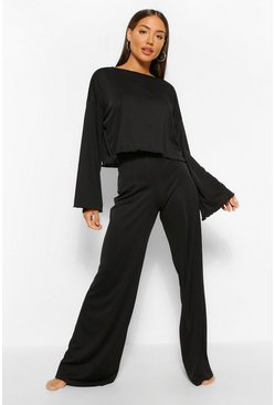 Ribbed Lettuce Hem Wide Leg Lounge Set, Black nero