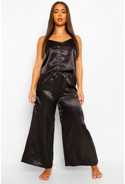 Black Premium Rainbow Diamante Button Cami and Trouser