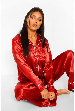 Red Premium Diamante Button PJ Trouser Set