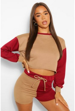 Colour Block Cropped Lounge Sweatshirt, Mocha beige