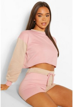 Rose pink Colour Block Cropped Lounge Sweatshirt