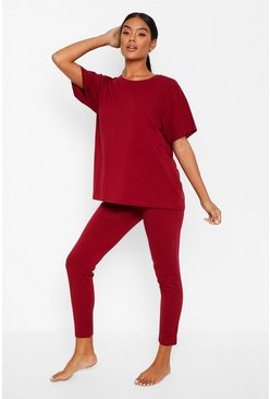 Basic T-shirt and Legging Soft Jersey PJ Set, Berry rojo