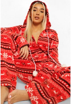 Red Fairisle Fleece Onesie