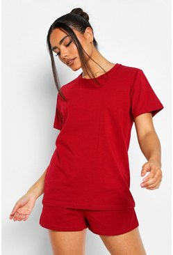Basic T-Shirt and Short Set, Berry rojo