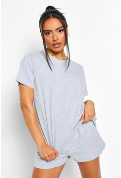 Grey marl grey Basic T-Shirt and Short Set