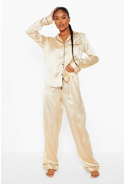 Gold metallic Mix and Match Satin PJ Trousers