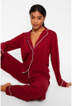 Long Sleeve Button Through Jersey PJ Set, Berry rojo