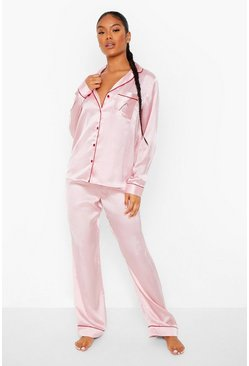 Pink Candy Cane Embroidered Satin PJ Set