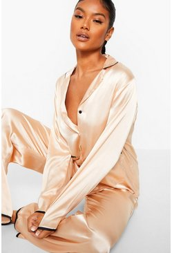 Champagne Satin Pyjamas with Piped Pockets