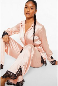 Rose gold metallic Eyelash Lace Satin Wrap Front PJ Set