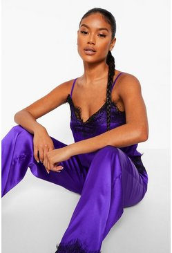 Purple Eyelash Lace Trim Cami and Trouser Set
