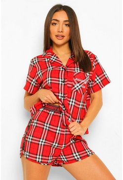 "Ensemble pyjama en flanelle avec short ""Naughty or nice"", Red rouge"