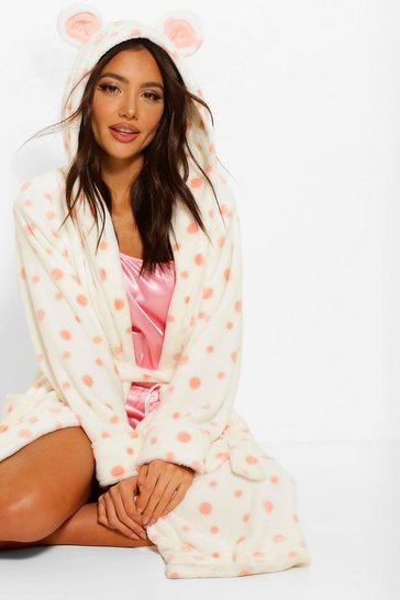 White Spotted Hooded Gown