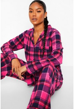 Pink Mix and Match Flannel Check PJ Trousers