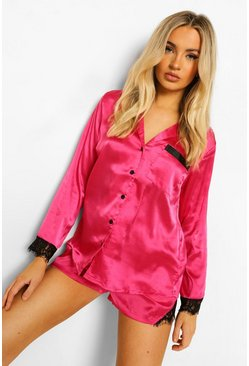 Hot pink pink Mix and Match Satin Lace Trim PJ Shirt