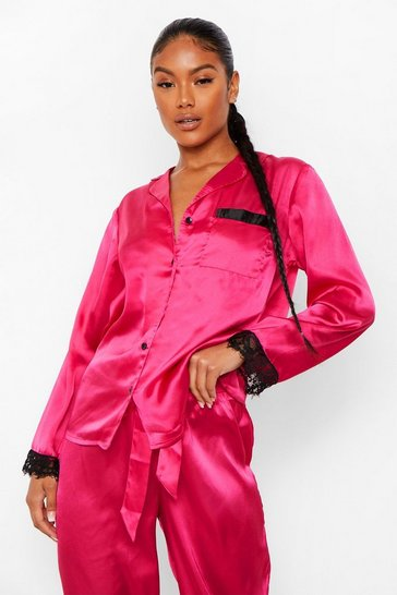 Hot pink pink Mix and Match Satin Lace Trim PJ Trousers