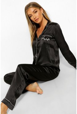 Black 'Sleep' Embroidered Satin PJ Set