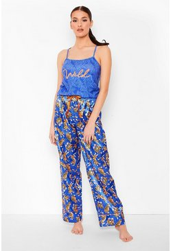 Navy Tiger Print Cami & Pants Pj Set