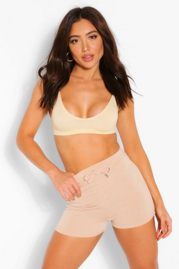 Stone beige Mix and Match Soft Loop Back Lounge Shorts
