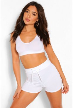 White Mix and Match Soft Loop Back Lounge Shorts
