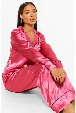 Raspberry pink Wake Me For Mimosas Embroidered Satin PJ Set