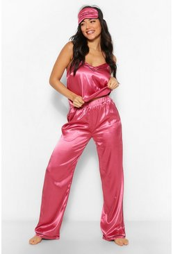 Raspberry pink Wake Me For Mimosas Cami, Trouser + Mask Set