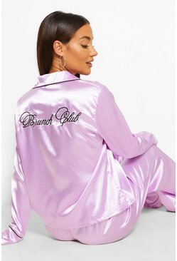 Lilac purple Brunch Club Embroidered Satin PJ Set