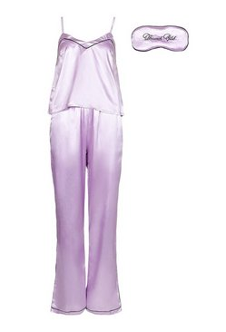 Lilac Brunch Club Embroidered Cami Trouser + Mask Set