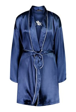 Navy It Was All A Dream Embroidered Satin Robe