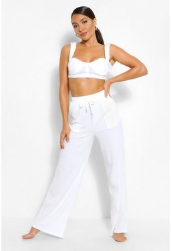 White Ribbed Bralet & Wide Leg Co-Ord Lounge Set
