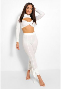 White Ribbed Twist Front Cut Out Lounge Set