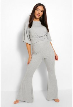 Grey Rib Twist Front Wide Leg Coord Lounge Set
