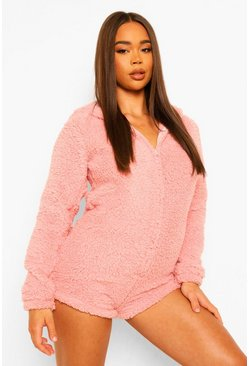 Blush pink Fluffy Ear Fleece Romper