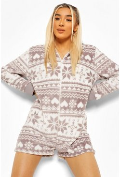 Grey grå Onesie i fleece med fair isle-mönster och huva
