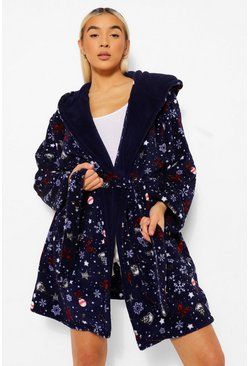 Navy The Grinch Christmas Fleece Dressing Gown