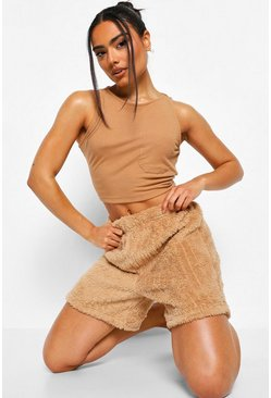 Mocha beige Cosy Knit Lounge Shorts