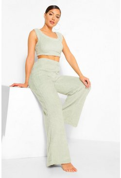 Sage green Cosy Knit Lounge Trousers