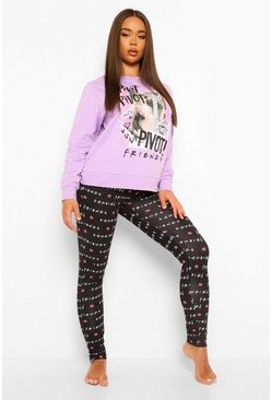 "Ensemble sweat graphique et legging ""Friends"", Lilas violet"