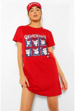 Red The Grinch Christmas Sleep Tee + Mask Set