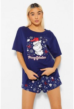 Navy The Grinch Christmas PJ Short Set