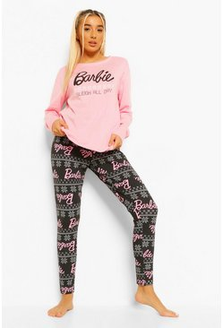"Set pigiama Barbie a maniche lunghe con scritta ""Up To Snow Good"", Rosa"