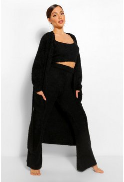 Black Premium Fluffy Lounge Wide Leg Trouser