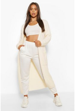 Cream white Premium Fluffy Lounge Cardigan